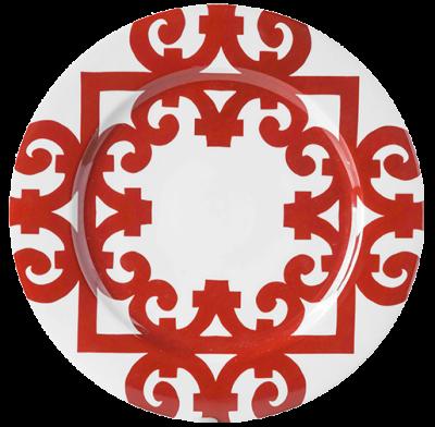 Sousplat de louça arabesco vermelho