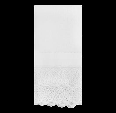 Guardanapo de linho branco guipure modelo 1